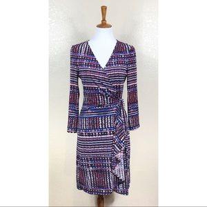 BCBGMaxAzria Adele Basketweave Print Wrap Dress